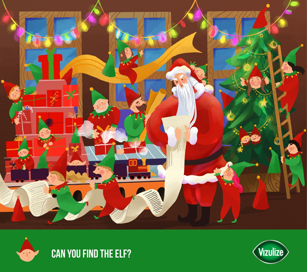 """""""Can You Find The Elf?"""" Graphic."""